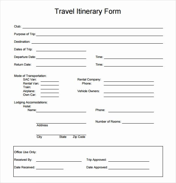 Business Trip Itinerary Template Luxury Travel Itinerary Templates
