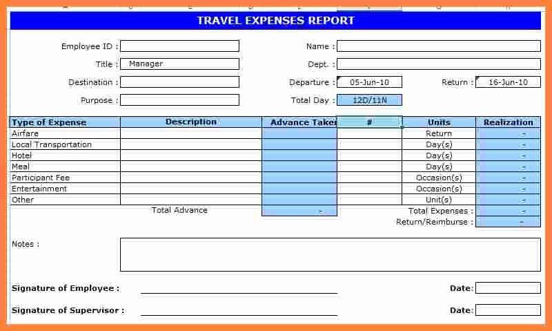 Business Trip Report Template Inspirational 8 Business Travel Expense Report Template