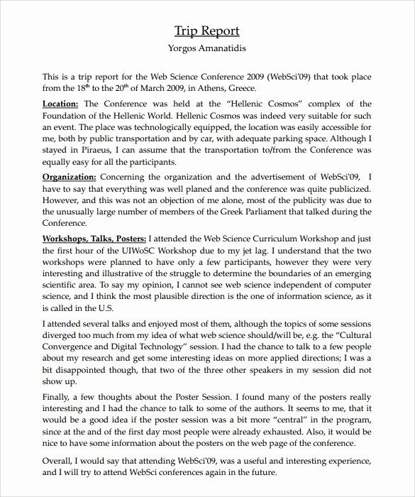 Business Trip Report Template Lovely 18 Sample Trip Reports Word Pages Pdf
