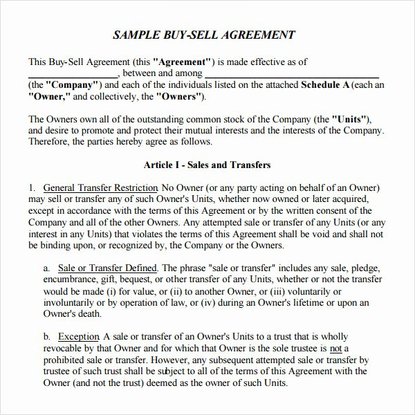 Buyout Agreement Template Awesome 18 Sample Buy Sell Agreement Templates Word Pdf Pages
