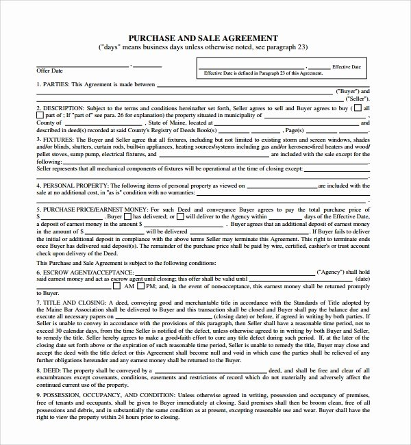 Buyout Agreement Template Best Of 12 Sample Purchase and Sale Agreements