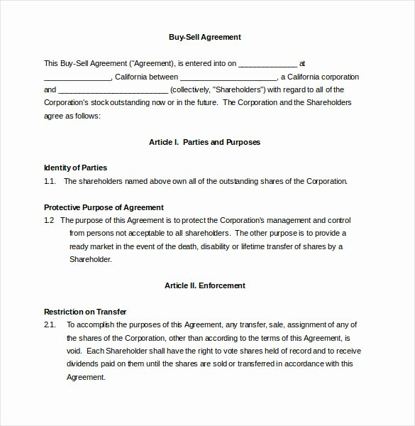 Buyout Agreement Template Elegant 24 Buy Sell Agreement Templates Word Pdf