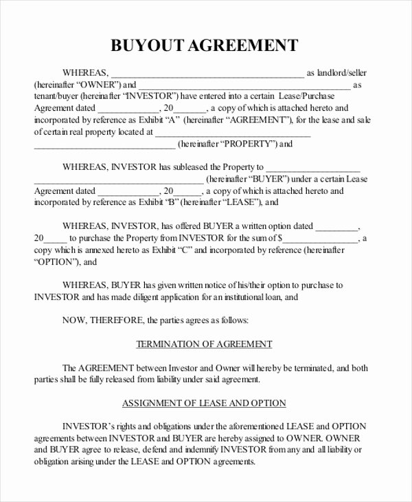 Buyout Agreement Template Elegant Sample Real Estate Agreement form 8 Free Documents In Pdf