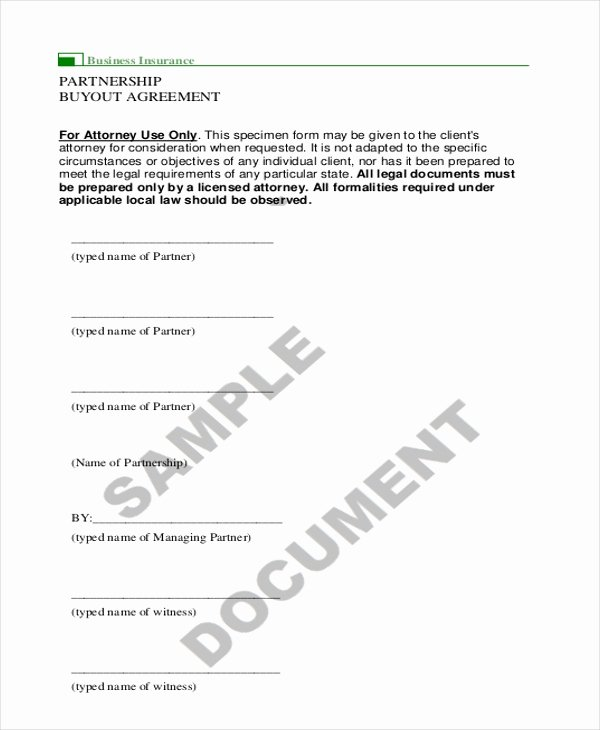 Buyout Agreement Template Fresh 9 Sample Partnership Agreement forms Free Sample