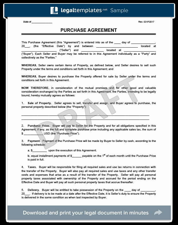 Buyout Agreement Template Fresh Purchase Agreement Template