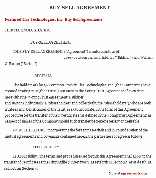 Buyout Agreement Template Lovely Get Sample Buy Sell Agreements