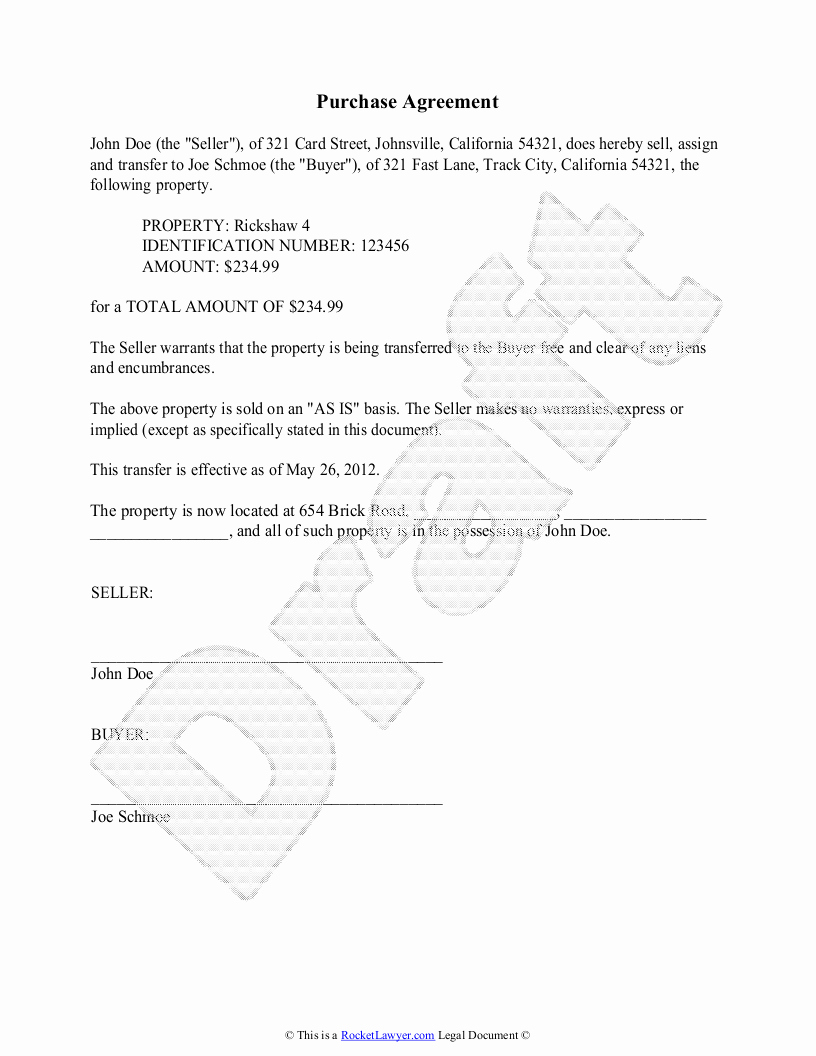 Buyout Agreement Template Lovely Purchase Agreement Template Free Purchase Agreement