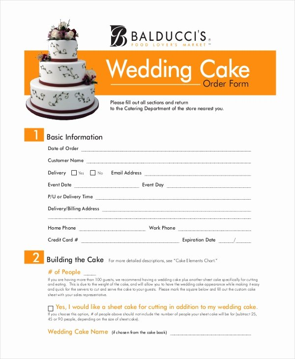 Cake Contract Template Awesome Sample Cake order form 10 Free Documents In Word Pdf