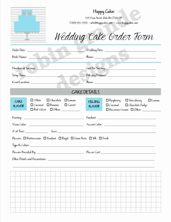 Cake Contract Template Beautiful Custom Cake Decorator Wedding Cake order form Contract for