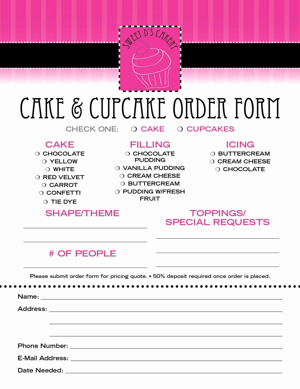Cake Contract Template Elegant Pin by Tiffany Phillips On Cake order forms In 2018