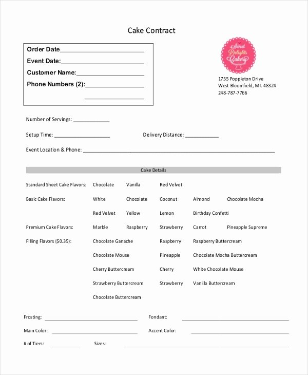 Cake Contract Template Inspirational Sample Cupcake order form 10 Free Documents In Pdf