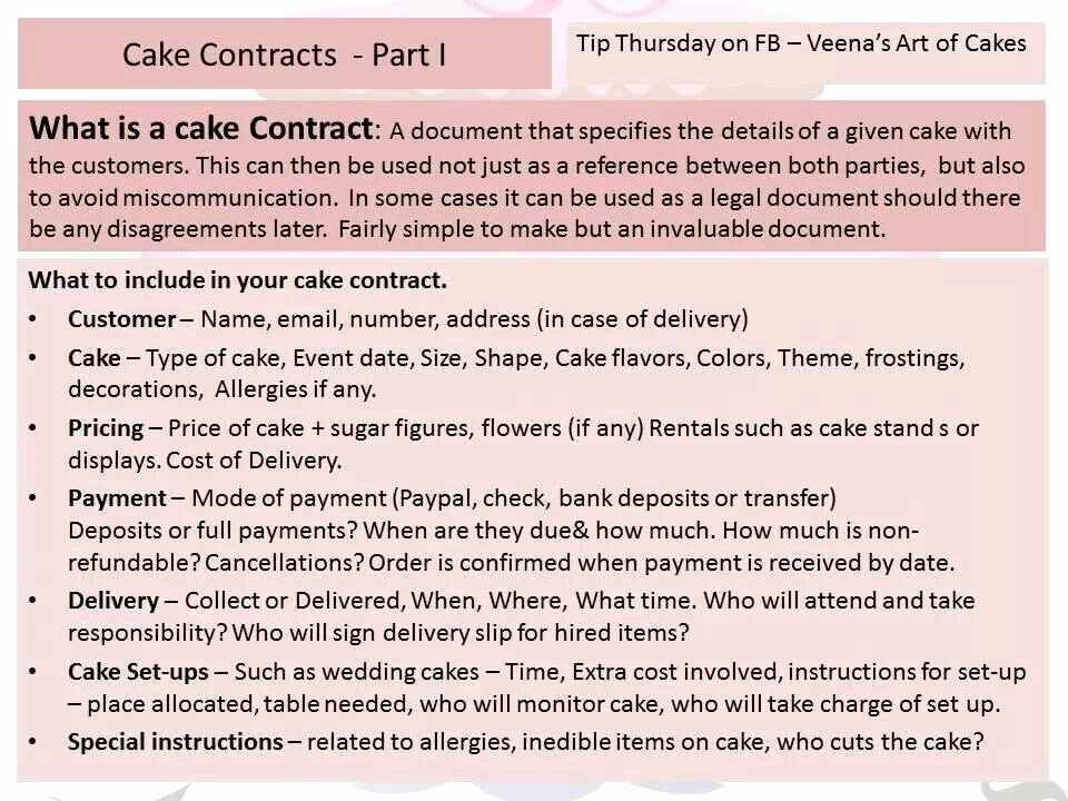 Cake Contract Template New Cake Contracts Part 2 Cake Decorating