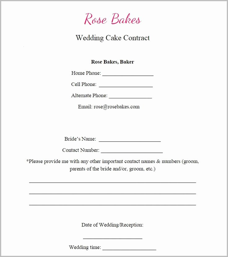 Cake Contract Template New Generic Blank Wedding Cake Contract