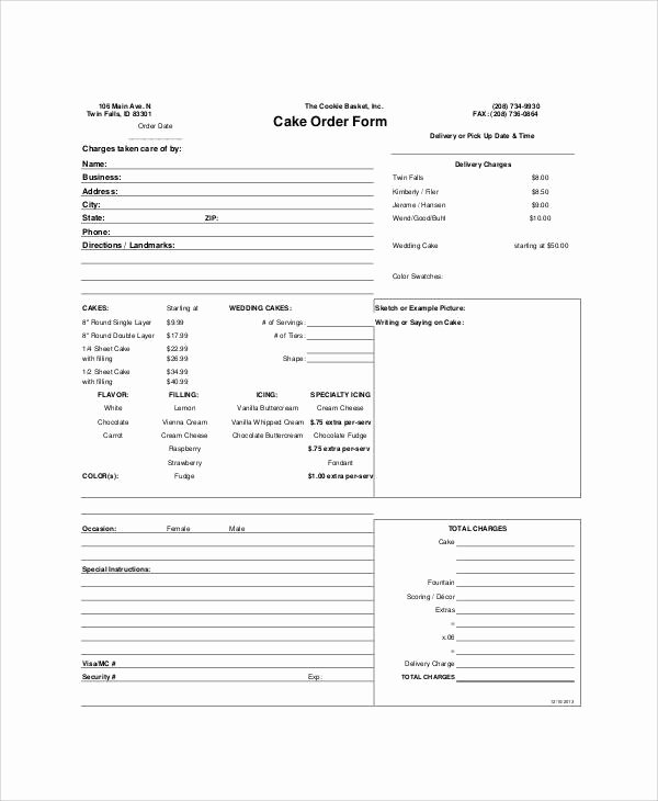 Cake order form Template Beautiful Sample Free Printable order form 9 Examples In Word Pdf