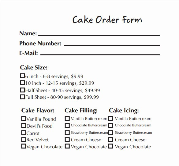 Cake order form Template Best Of Sample Cake order form Template 13 Free Documents
