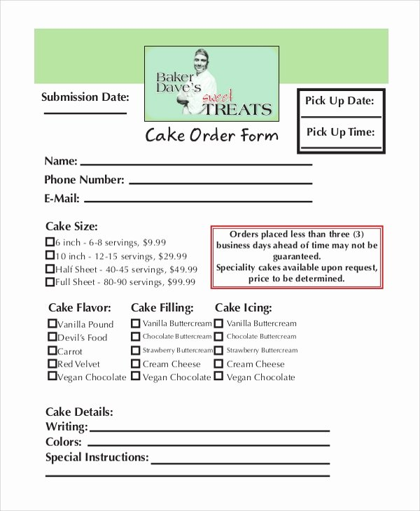 Cake order form Template Elegant order form Samples Examples Tempales 7 Documents In