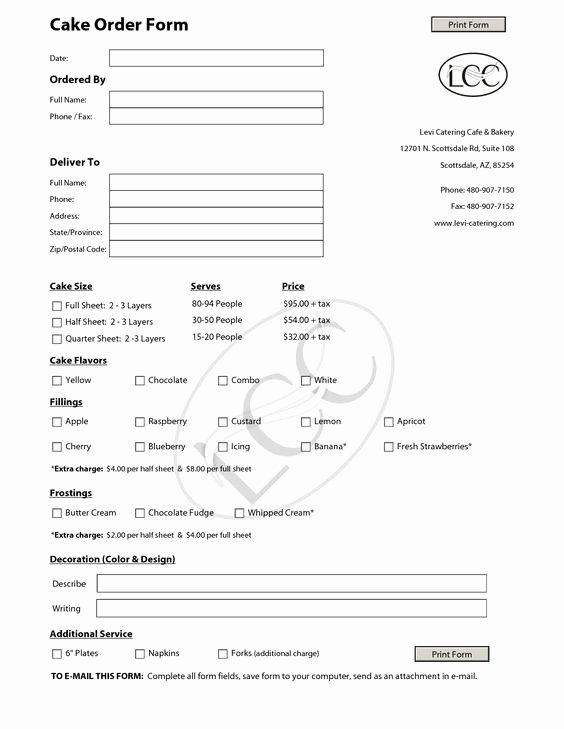 Cake order form Template Fresh Cake order forms Templates Google Search