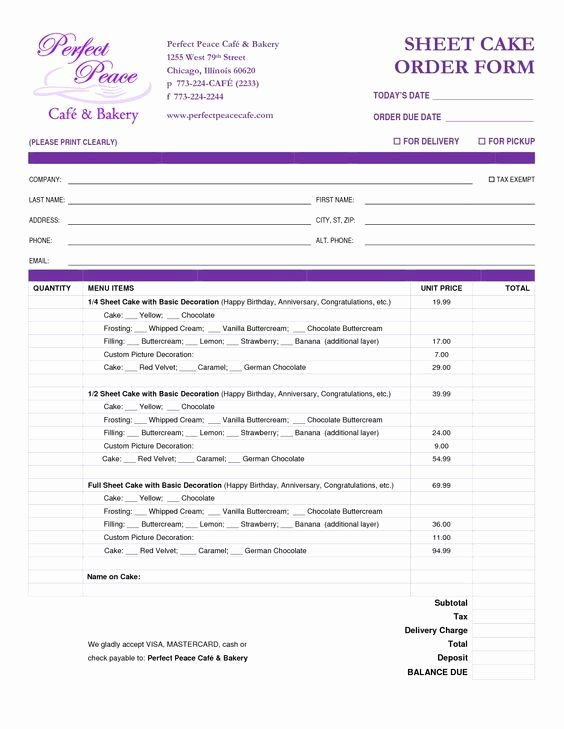 Cake order form Template New Cake order form Template Free Google Search