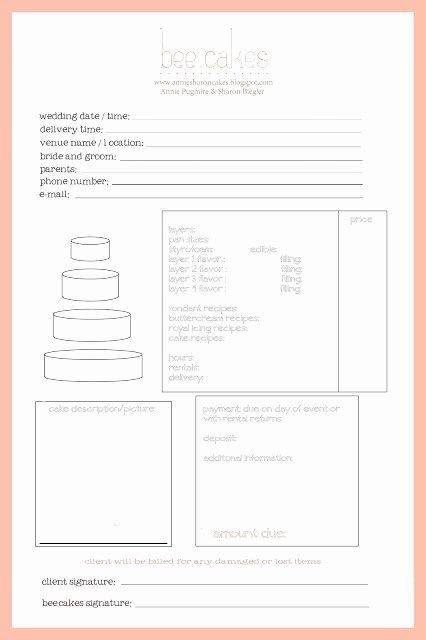 Cake order form Template Unique Cake Invoice Cake Ideas and Designs
