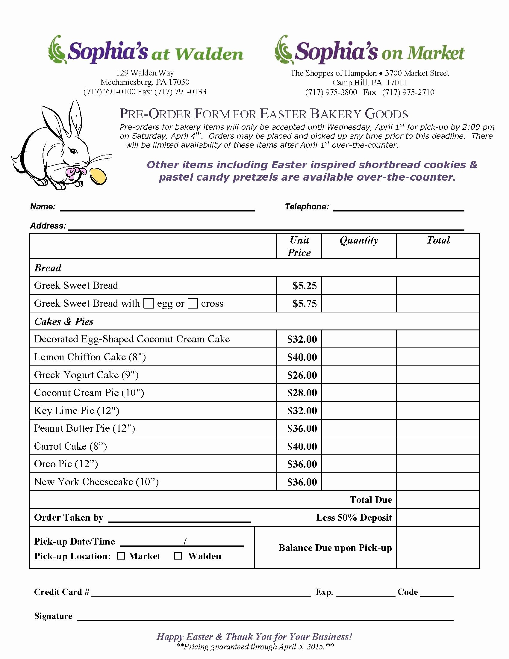 Cake order form Template Word Fresh Easter Bakery order form sophia S at Walden Your