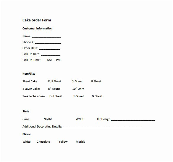 Cake order form Template Word Inspirational Sample Cake order form Template 16 Free Documents