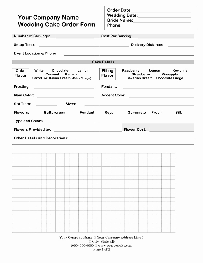 Cake order form Template Word New Wedding Cake order form In Word and Pdf formats