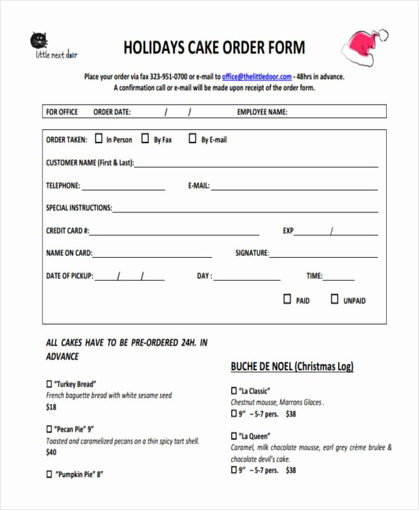 Cake order form Templates Awesome 10 Cake order forms Free Samples Examples format