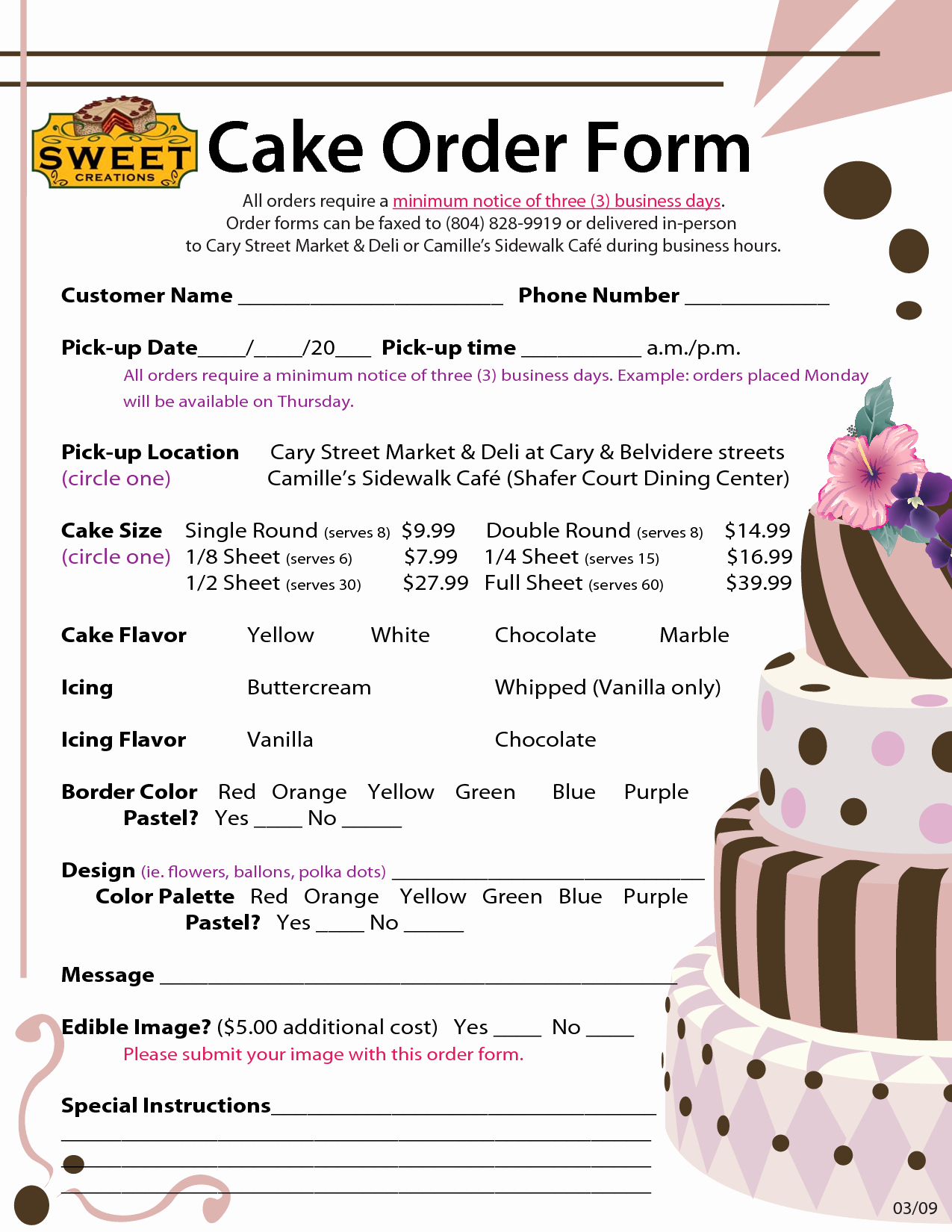 Cake order form Templates Beautiful order forms Cake Negocios Pinterest