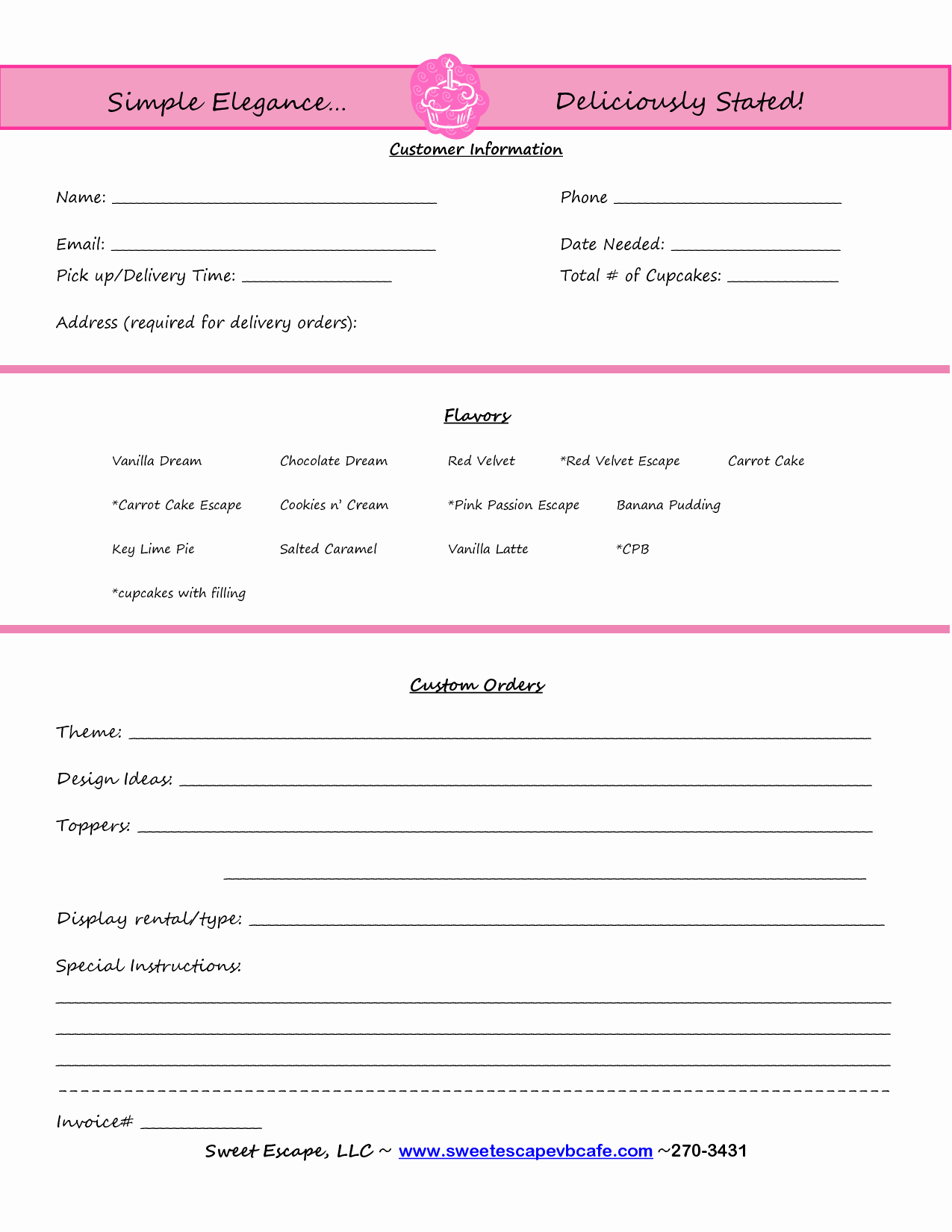 Cake order form Templates Best Of Cake order form Templates Free Cupcakes