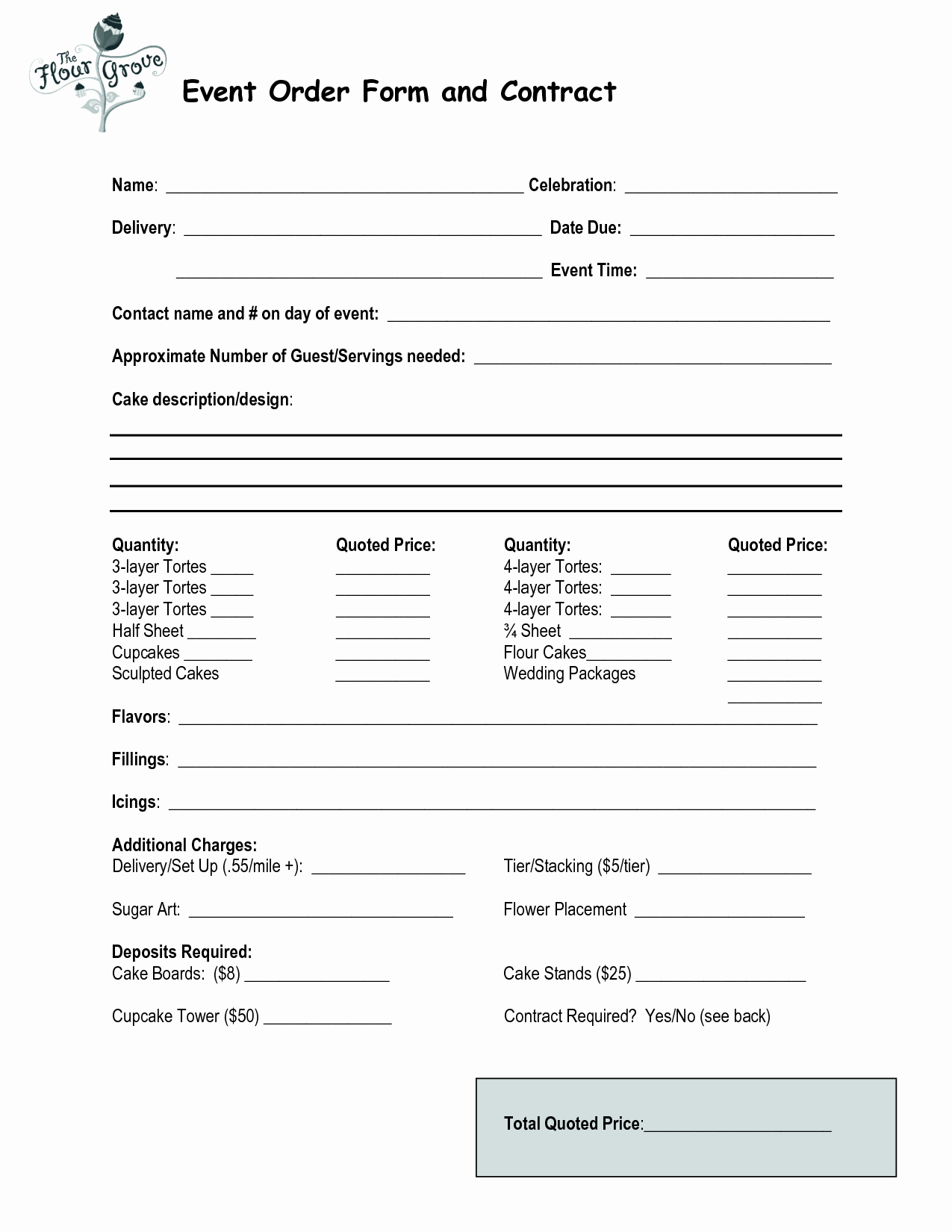 Cake order form Templates Lovely Cake order Contract event order form and Contract
