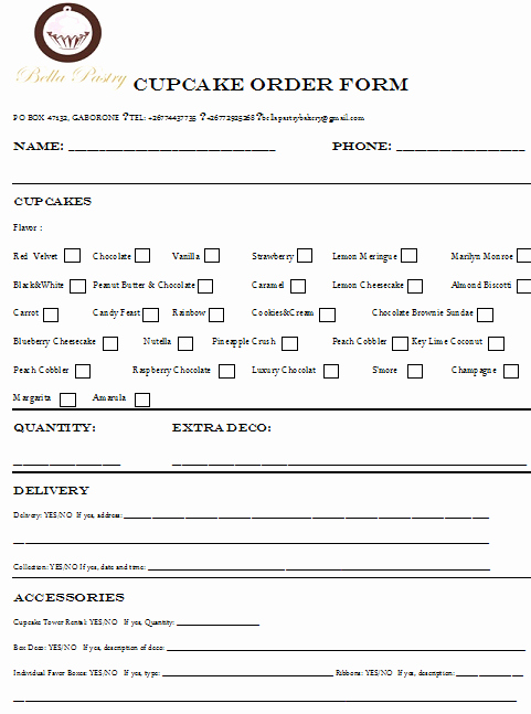 Cake order form Templates New Cupcakes