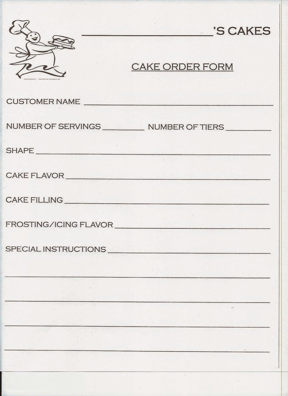 Cake order form Templates New Spark and All Jake Bakes Cakes