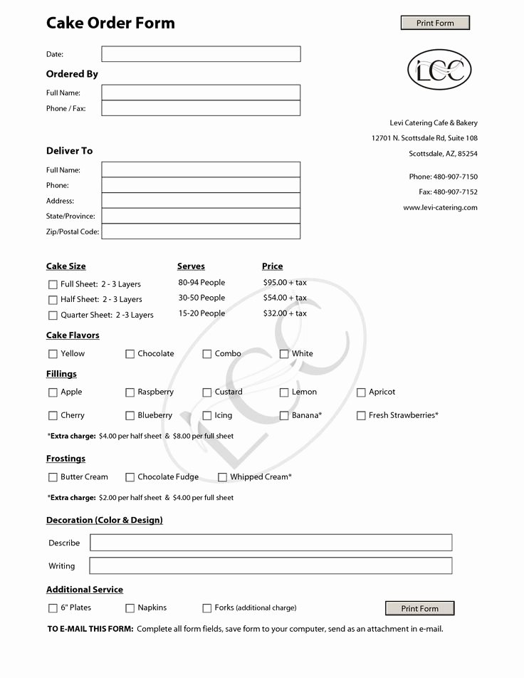Cake order forms Printable Awesome 23 Best Images About Cake order forms On Pinterest