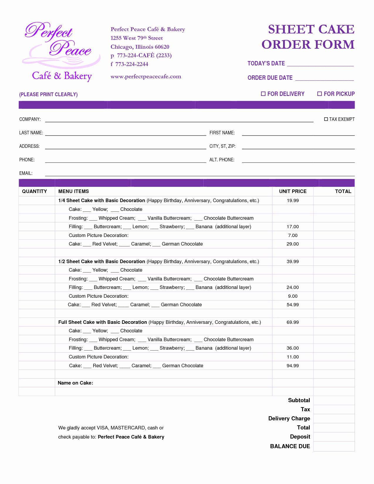 Cake order forms Printable Inspirational Cake order form Template Free Google Search