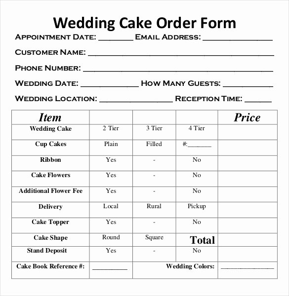 Cake order forms Printable Luxury 17 Wedding order Templates – Free Sample Example format