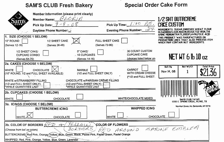 Cake order forms Printable New Sams Club Cake order form