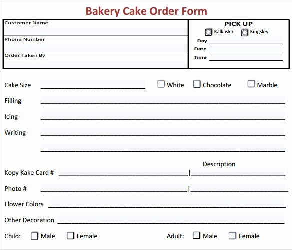 Cake order forms Printable Unique Sample Cake order form Template 16 Free Documents