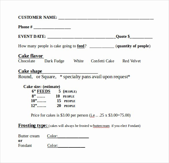 Cake order forms Templates Fresh Sample Cake order form Template 16 Free Documents