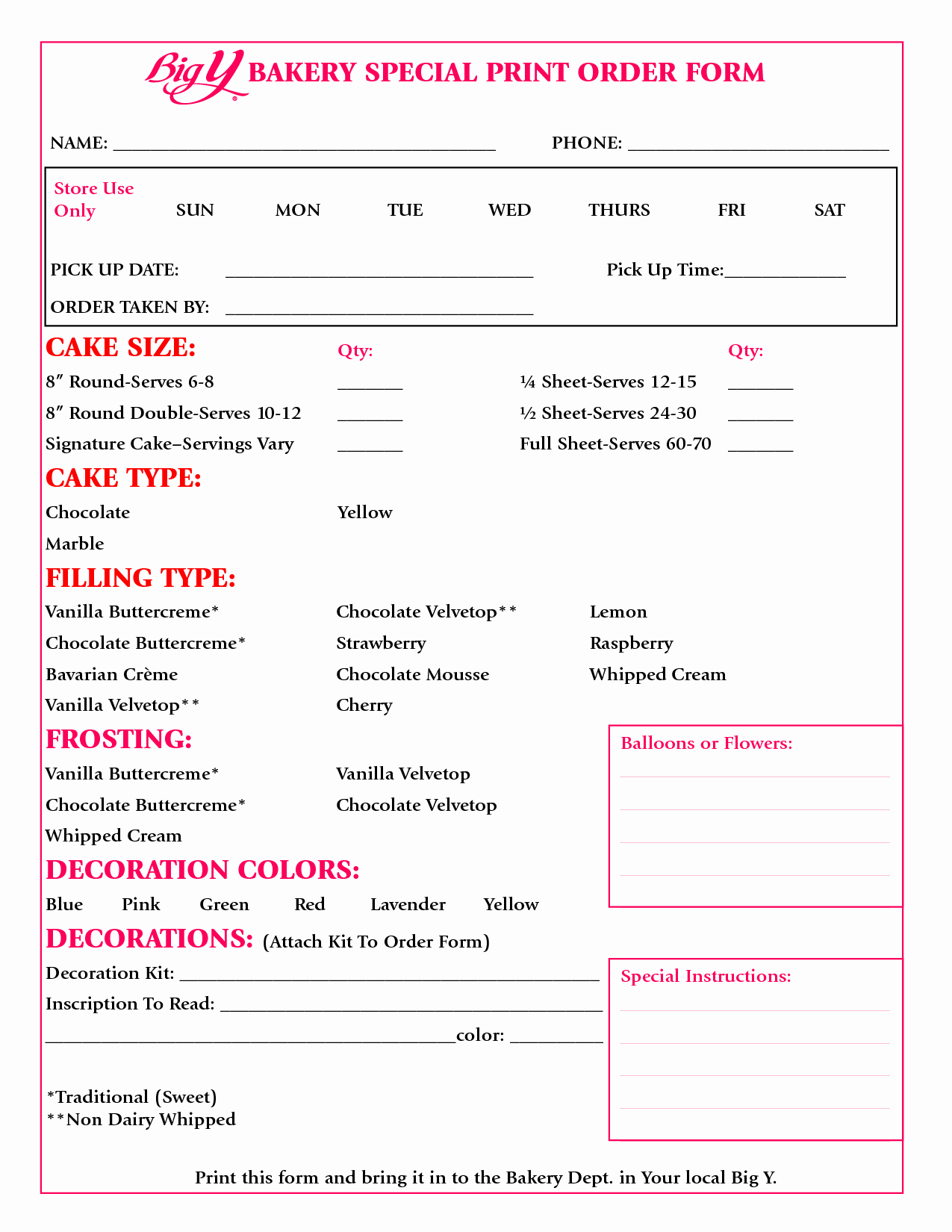 Cake order forms Templates Lovely Cake order form Google Search