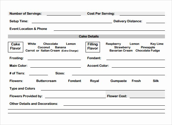 Cake order forms Templates Luxury Cake order form Template 13 Free Samples Examples