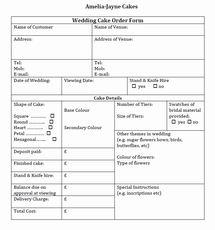 Cake order forms Templates New Wedding Cake order form Idea In 2017