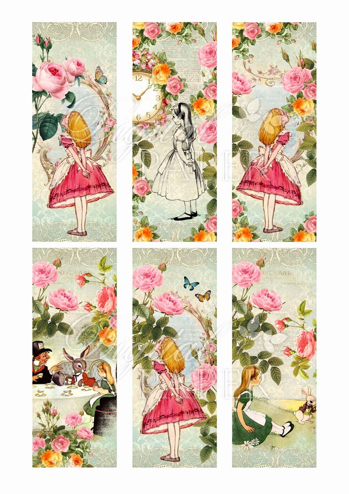 Calendar Bookmark Template Beautiful Alice In Wonderland Bookmarks Set Of 6 Bookmarks Digital
