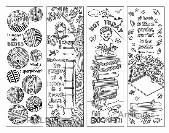 Calendar Bookmark Template Inspirational A Set Of 8 Coloring Bookmarks with Quotes On Books and