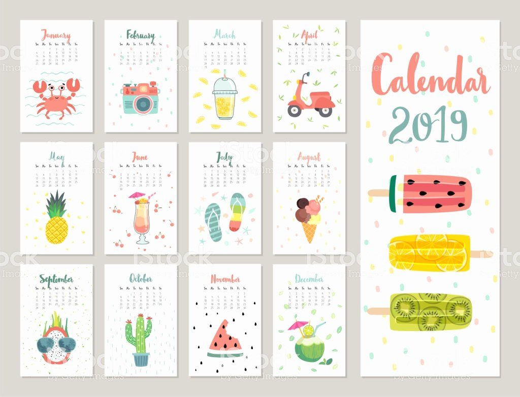 Calendar Bookmark Template Lovely Calendar 2019 Cute Monthly Calendar with Lifestyle Objects