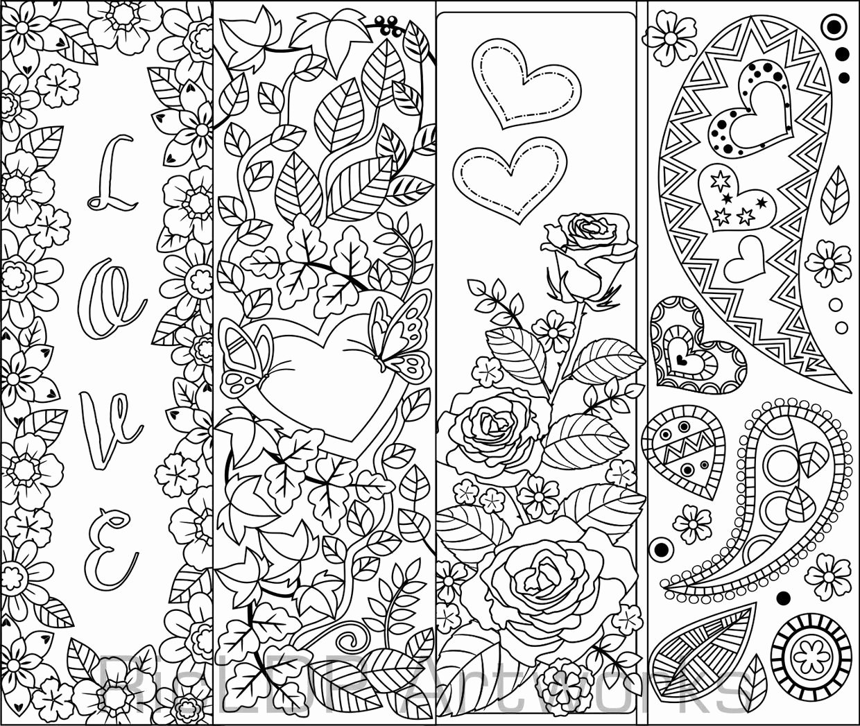 Calendar Bookmark Template Luxury Set Of 8 Coloring Bookmarks with Hearts Hearts