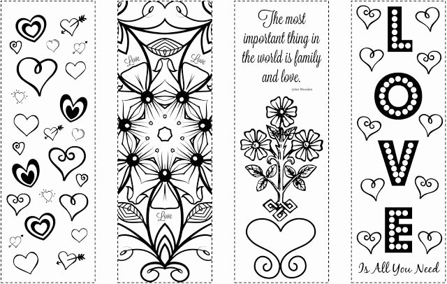 Calendar Bookmark Template New Printable Bookmarks Valentine S Day Coloring Bookmarks
