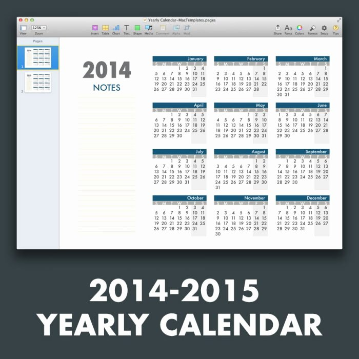 Calendar Template for Pages Mac Awesome Yearly Calendar Template for Pages and Pdf Mactemplates