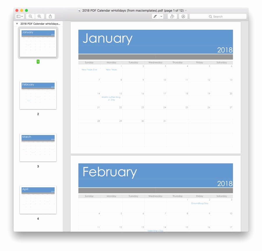 Calendar Template for Pages Mac Best Of 2018 Calendar Template for Pages & Pdf Mactemplates