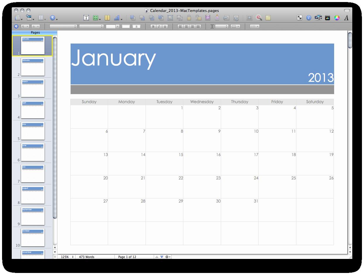 Calendar Template for Pages Mac Fresh 2013 Calendar Mactemplates
