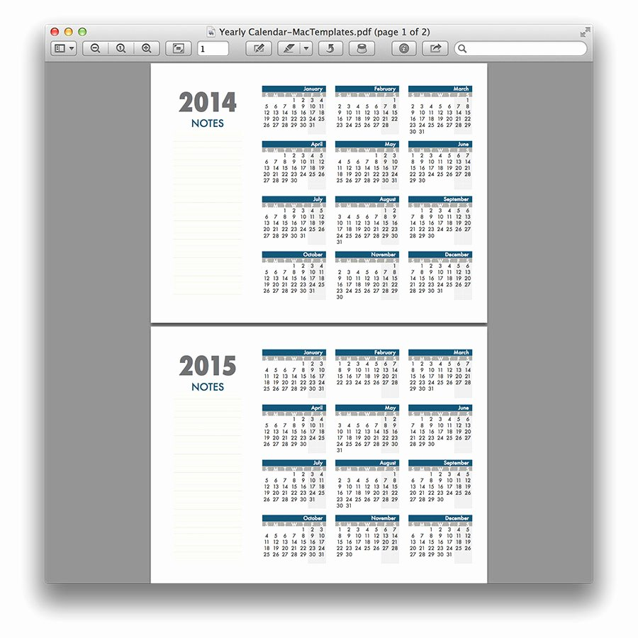Calendar Template for Pages Mac Luxury Yearly Calendar Template for Pages and Pdf Mactemplates